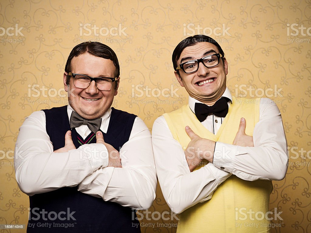 Portrait of two nerds stock photo