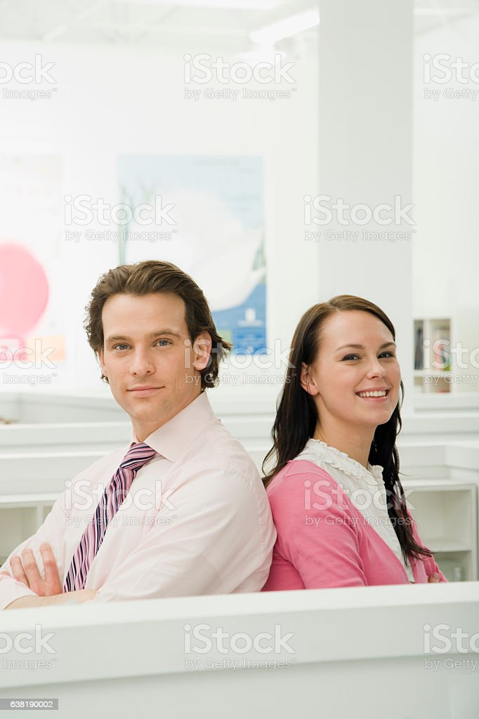 Portrait of two office colleagues together stock photo
