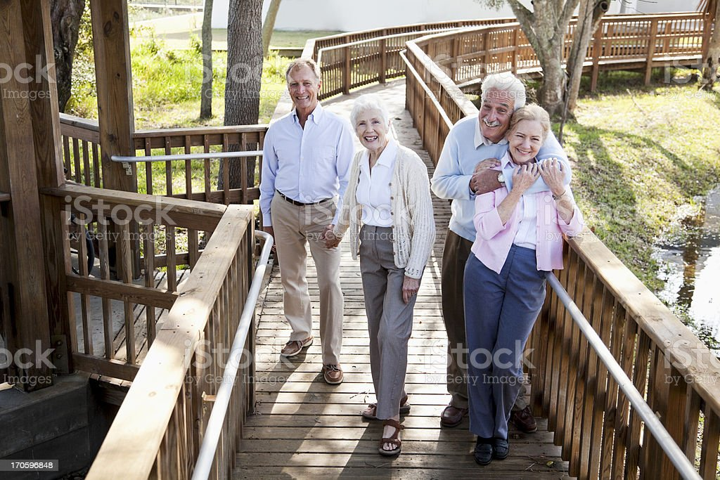 Portrait of two senior couples stock photo