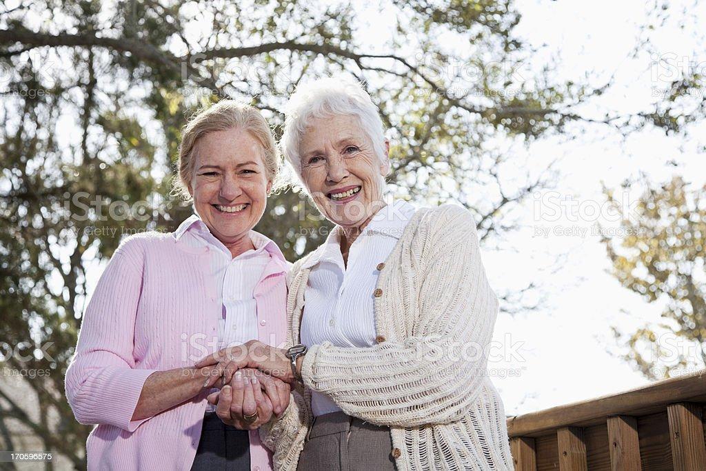 Portrait of two senior women stock photo