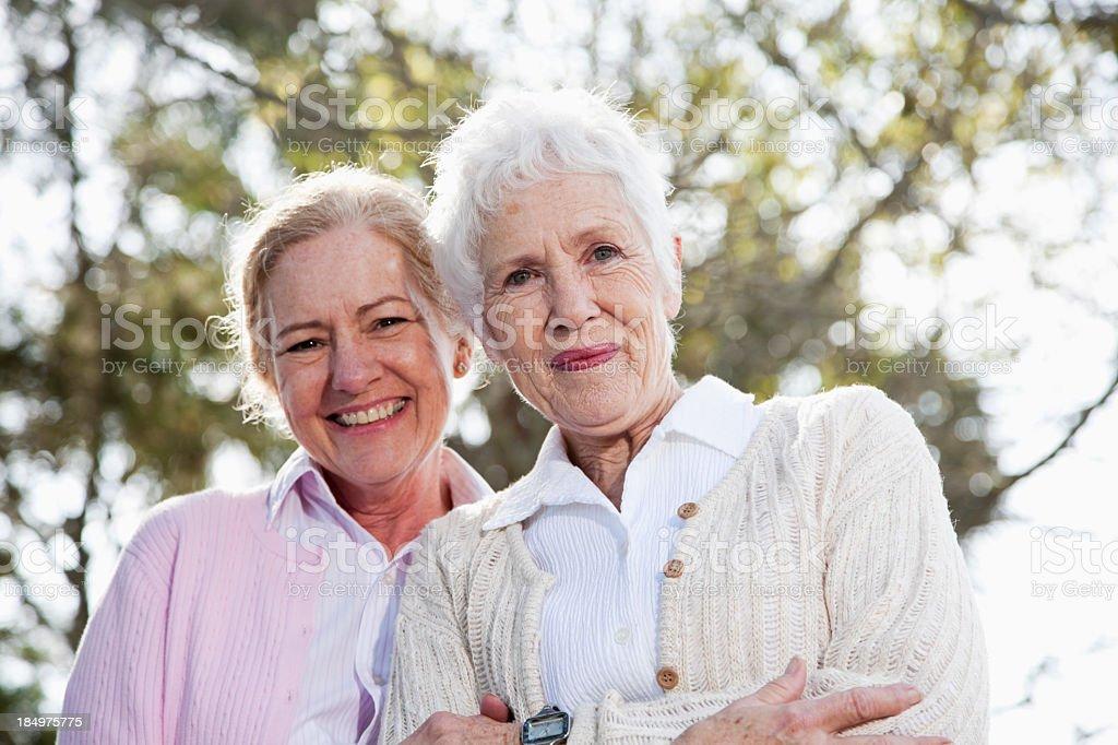 Portrait of two senior women royalty-free stock photo