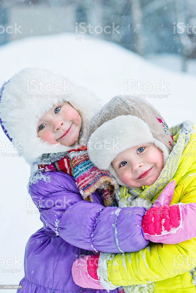 portrait of two sisters royalty-free stock photo