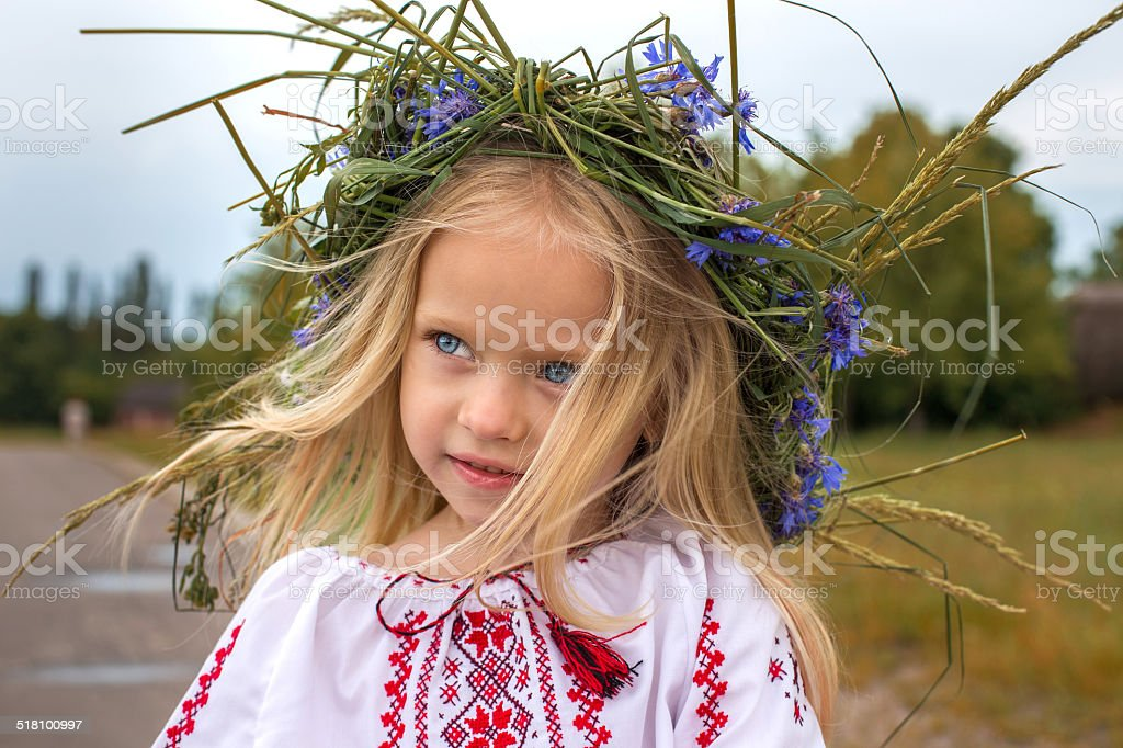 Portrait of ukrainian girl in chaplet stock photo