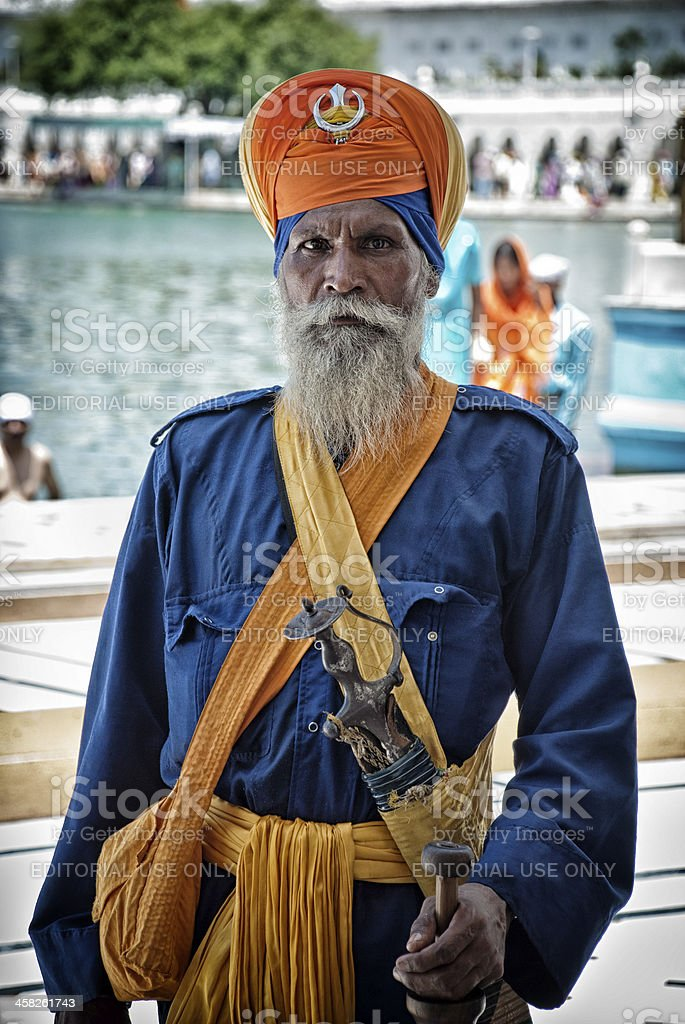 Portrait of unidentified Nihang (armed Sikh) royalty-free stock photo