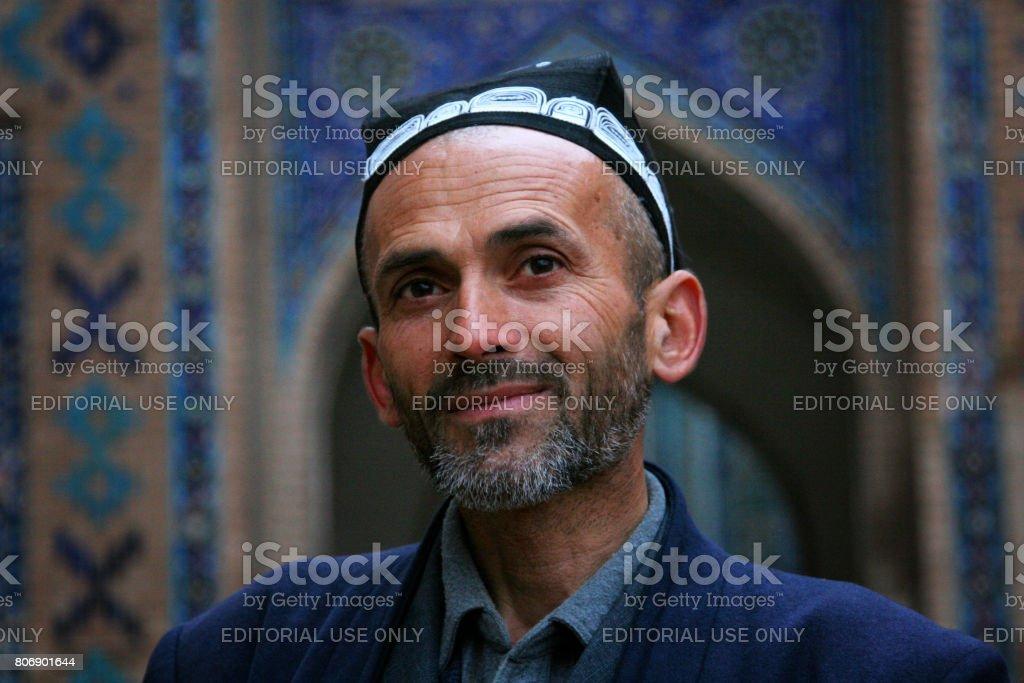 Samarkand, Uzbekistan - March 08, 2009: Portrait of unidentified Uzbek man with beard stock photo
