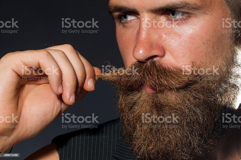 Portrait of unshaven man stock photo