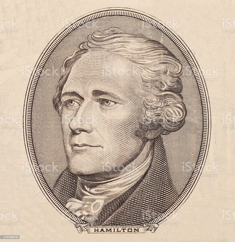 Portrait of U.S. president Alexander Hamilton stock photo