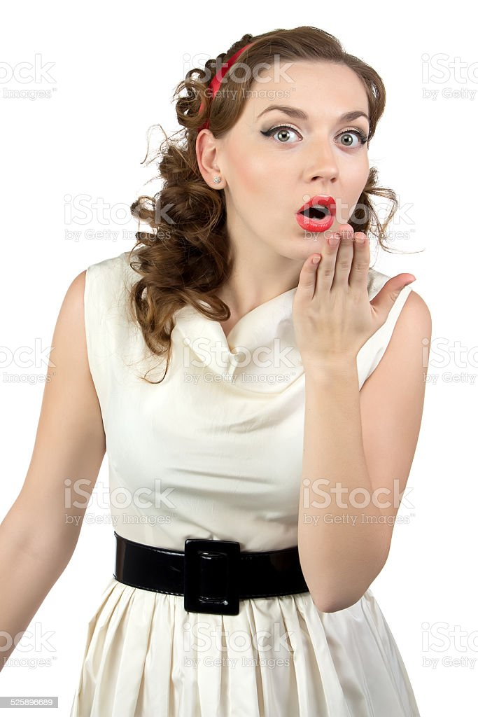 Portrait of very surprised woman with hand stock photo
