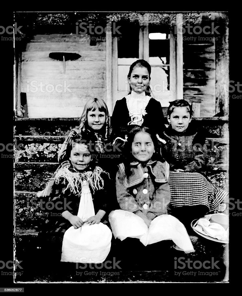 Portrait of Victorian-era Children stock photo
