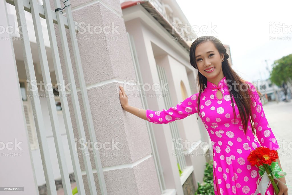 Portrait of Vietnam girl with Ao Dai, Vietnam traditional dress stock photo