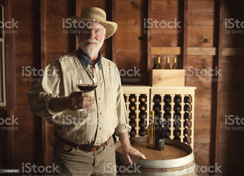 Portrait of Vintner Winemaker in the Cellar Horizontal royalty-free stock photo