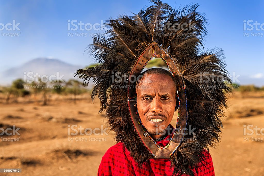 Portrait of warrior from Maasai tribe, Kenya, Africa stock photo