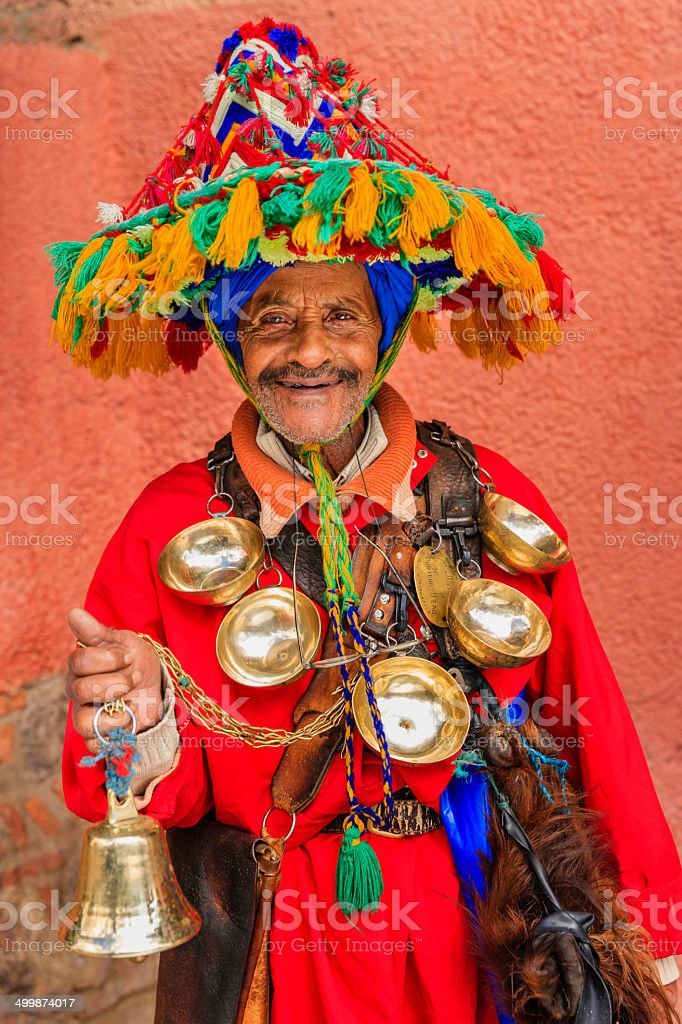 Portrait of water seller in Marrakesh, Morocco stock photo