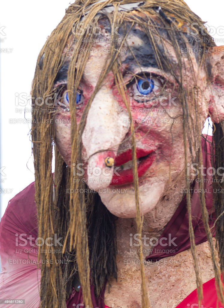 Portrait of Witches Lisa at Cerknica carnival Slovenia stock photo