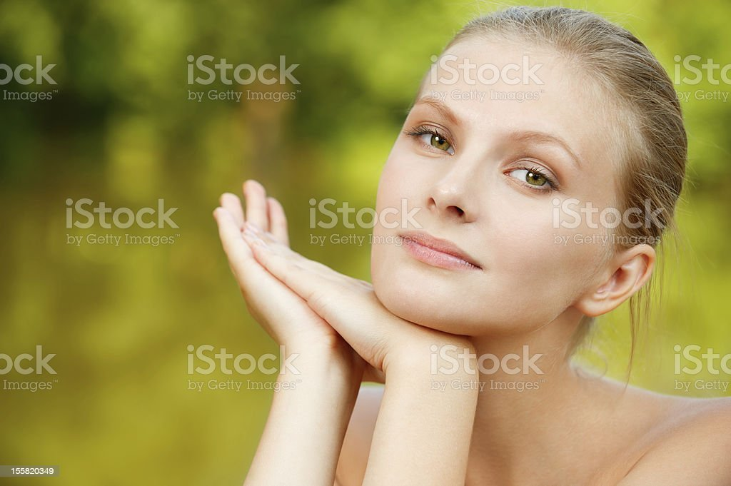 Portrait of woman against lake royalty-free stock photo