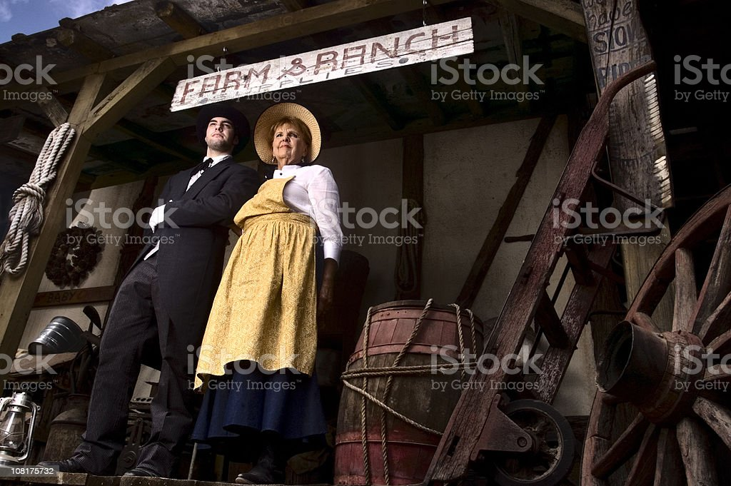Portrait of Woman and Butler at Ranch royalty-free stock photo