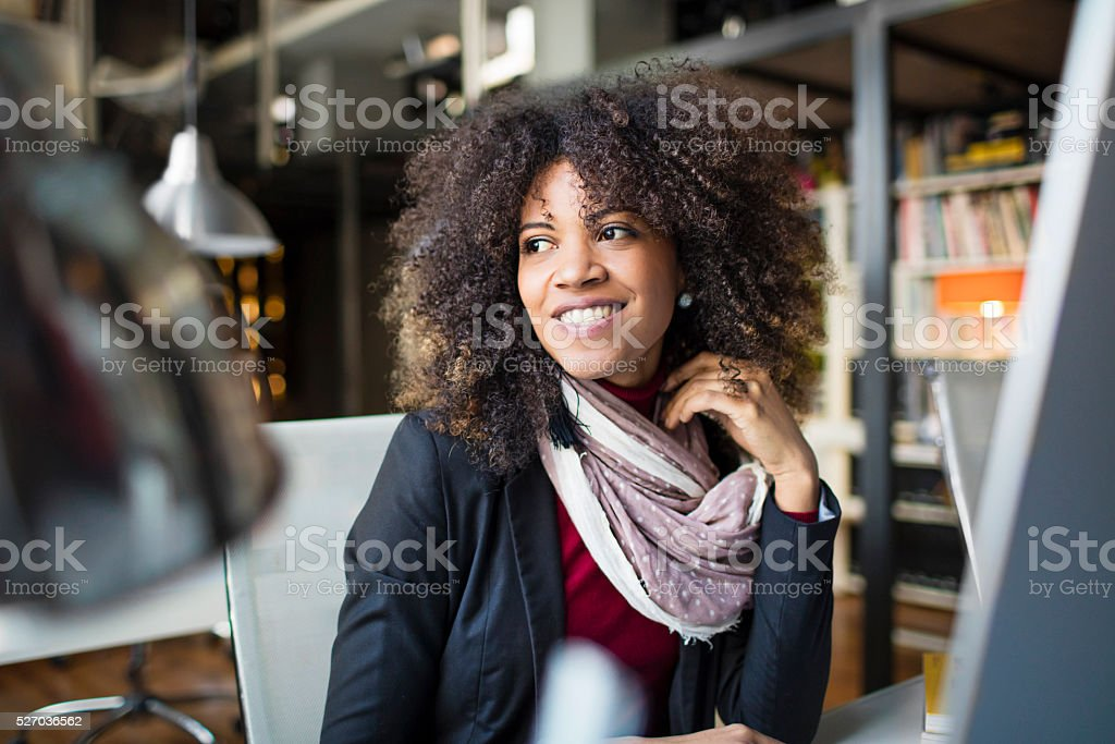 Portrait of woman at the office stock photo