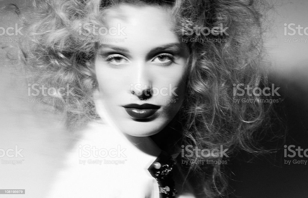 Portrait of Woman. Black and White stock photo