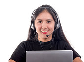 Portrait of woman customer support phone operator in headset, is