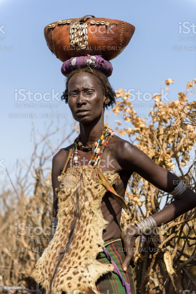 Portrait of woman from dassanech tribe stock photo