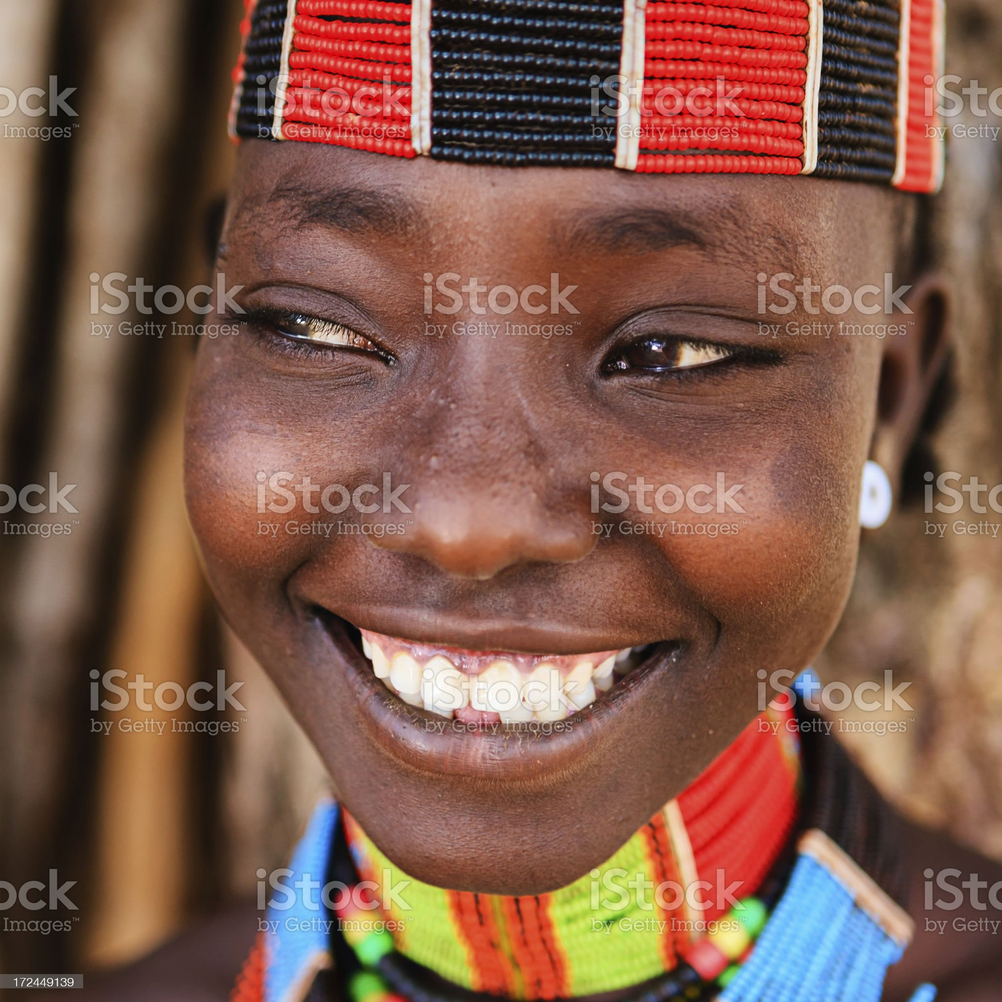 Portrait of woman from Hamer tribe, Ethiopia, Africa royalty-free stock photo