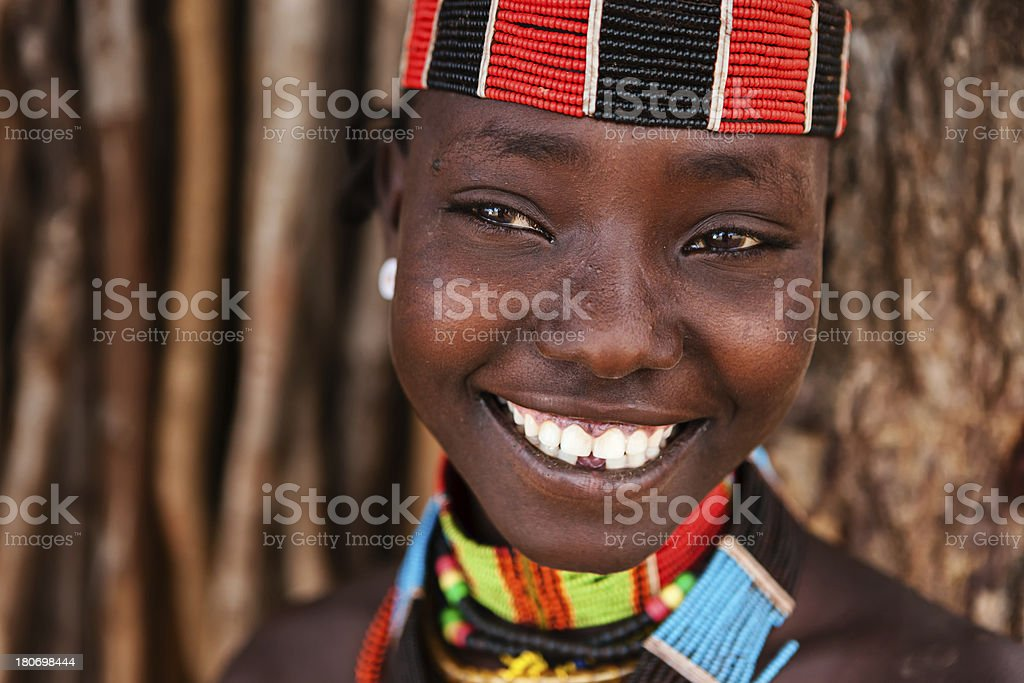 'Portrait of woman from Hamer tribe, Ethiopia, Africa' stock photo
