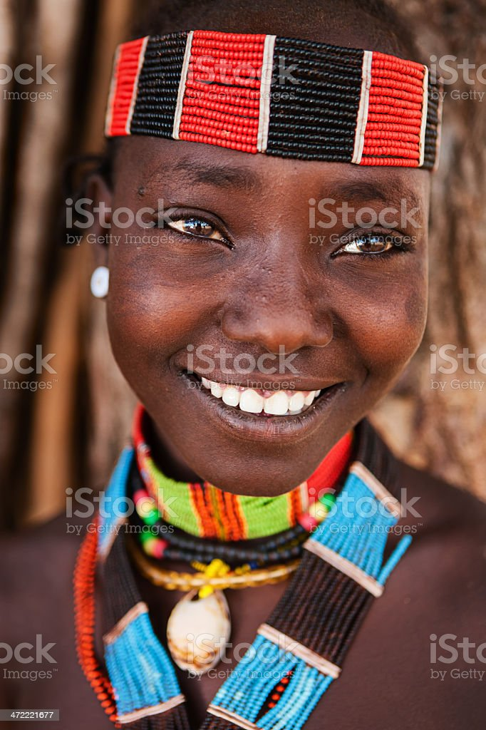 Portrait of woman from Hamer tribe, Ethiopia, Africa stock photo