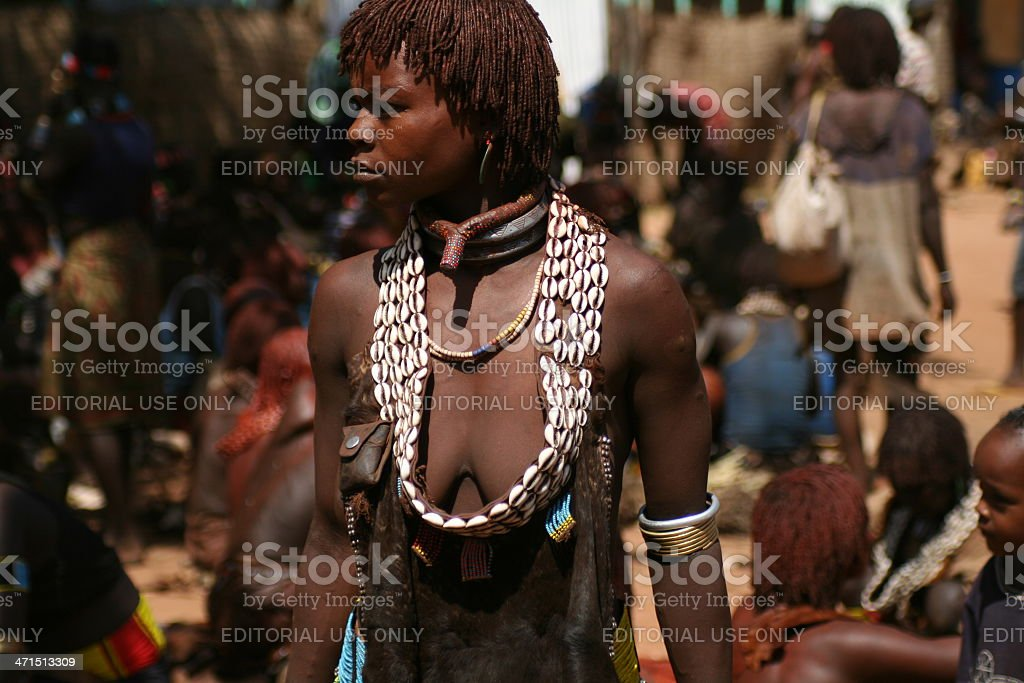 Portrait of woman from Hamer tribe stock photo