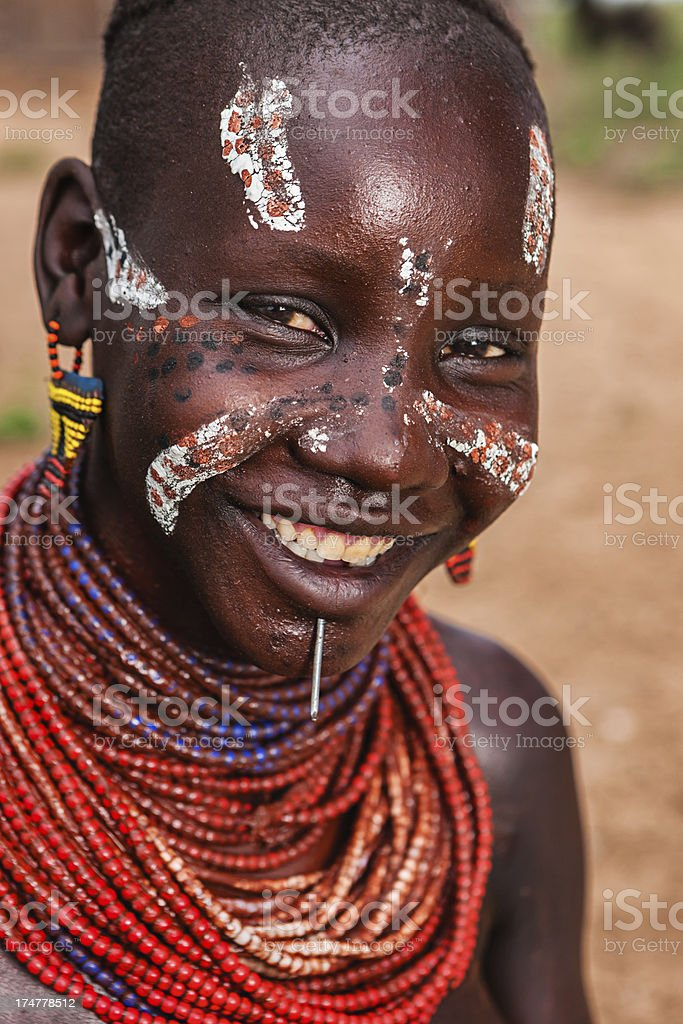 Portrait of woman from Karo tribe, Ethiopia, Africa royalty-free stock photo