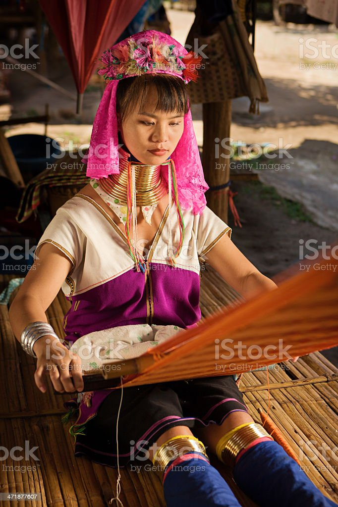 Portrait of Woman from Long Neck Karen Tribe royalty-free stock photo