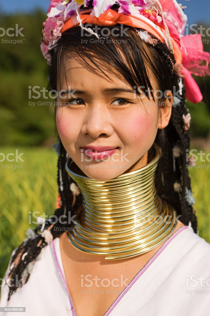 Portrait of woman from Long Neck Karen Tribe stock photo