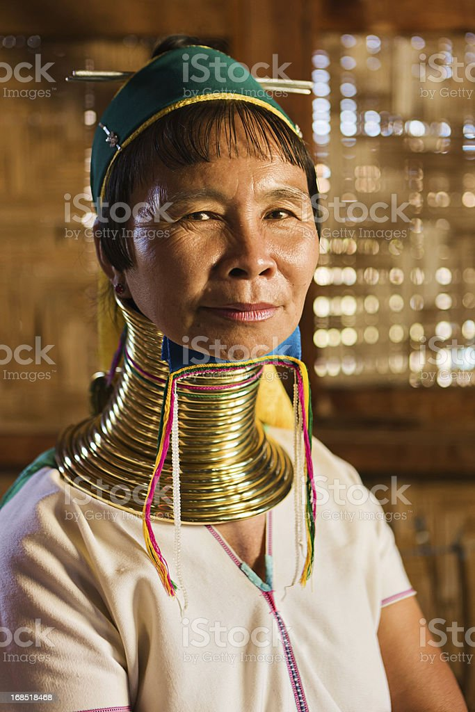 Portrait of woman from Long Neck Padaung Tribe, Myanmar stock photo