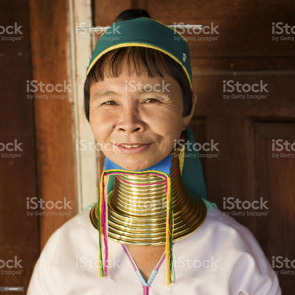 Portrait of woman from Long Neck Padaung Tribe, Myanmar royalty-free stock photo