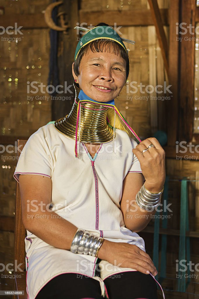 'Portrait of woman from Long Neck Padaung Tribe, Myanmar' stock photo