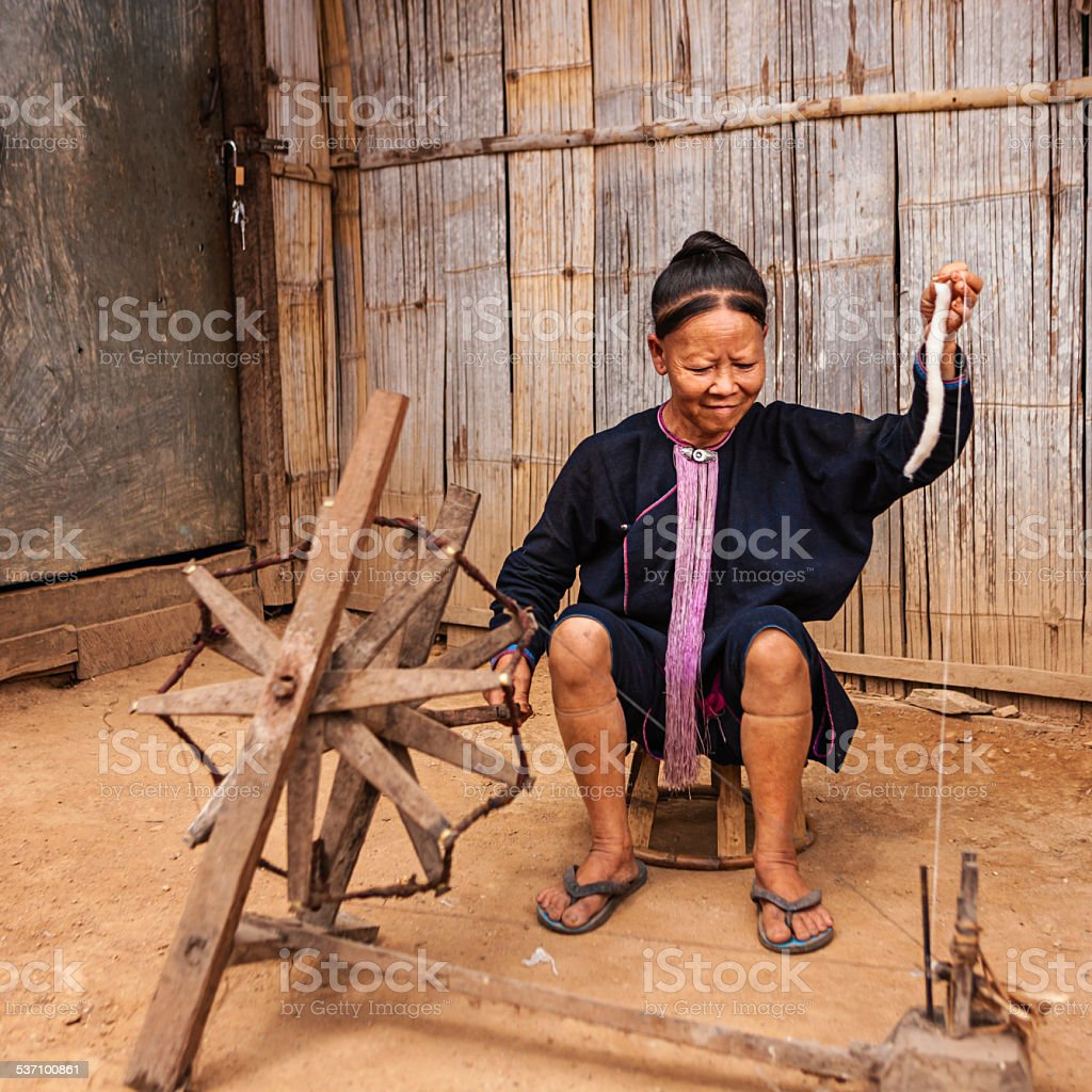 Portrait of woman from the Lantan hill tribe in Laos stock photo