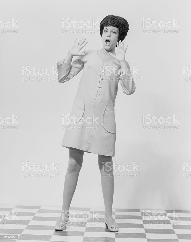 Portrait of woman gesturing royalty-free stock photo