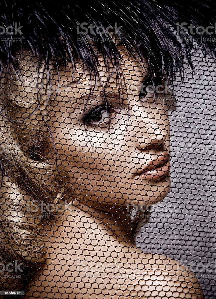 Portrait of woman in a retro style royalty-free stock photo