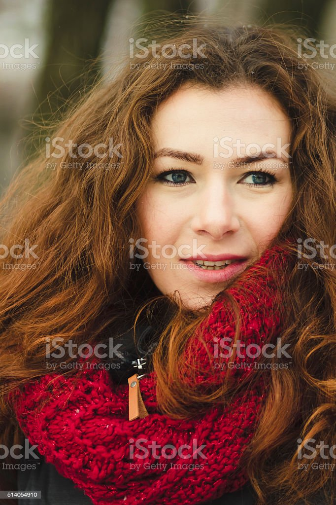 Portrait of woman in a scarlet scarf stock photo