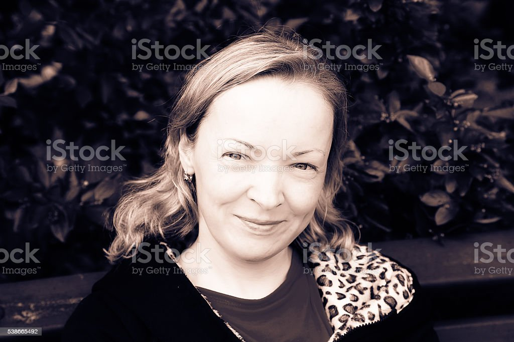 Portrait of woman in black and white stock photo