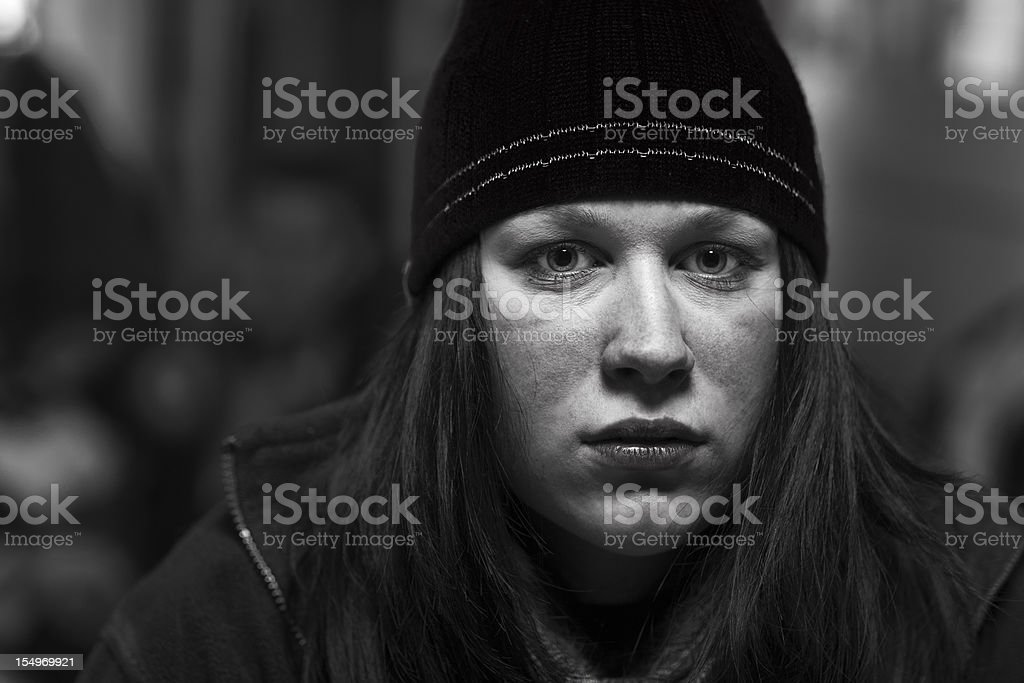 Portrait of Woman In Cap royalty-free stock photo