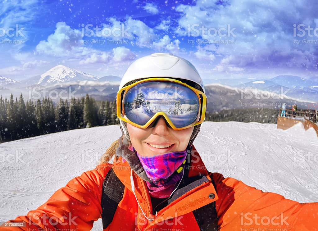 Portrait of woman in Carpathian mountains, Bukovel stock photo
