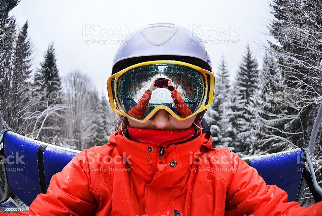 Portrait of woman in Carpathian Mountains, Bukovel stock photo