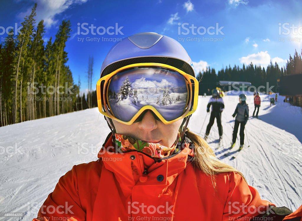 Portrait of woman in Carpathian Mountains stock photo