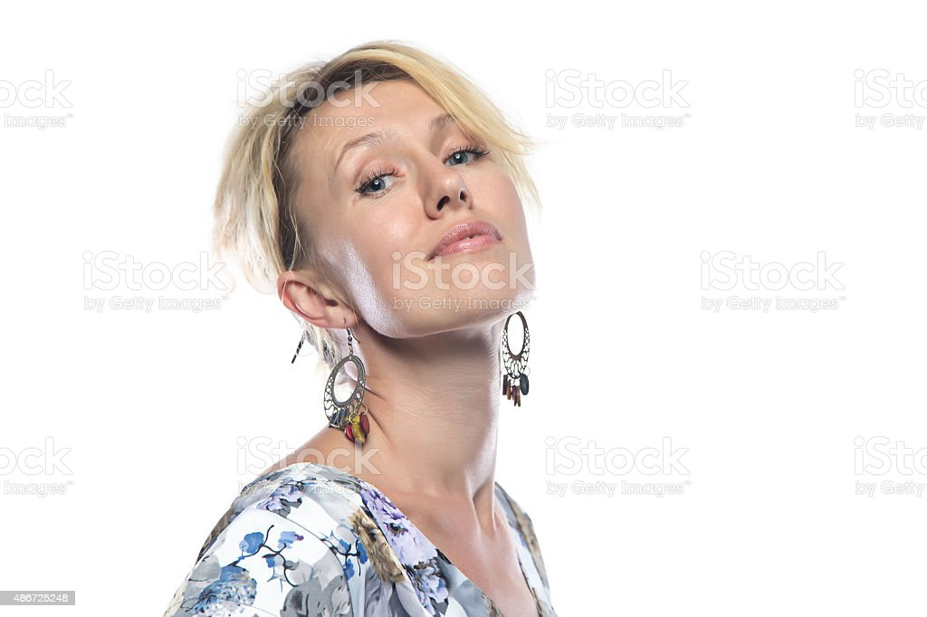 Portrait of woman in motley dress stock photo