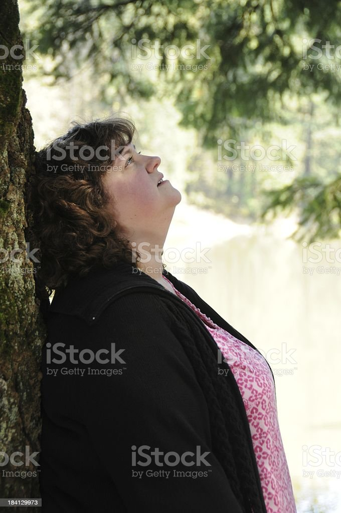 Portrait of Woman in Park royalty-free stock photo