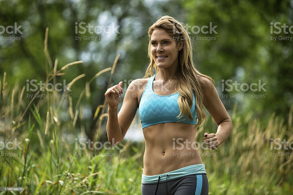 Portrait Of Woman Jogging royalty-free stock photo