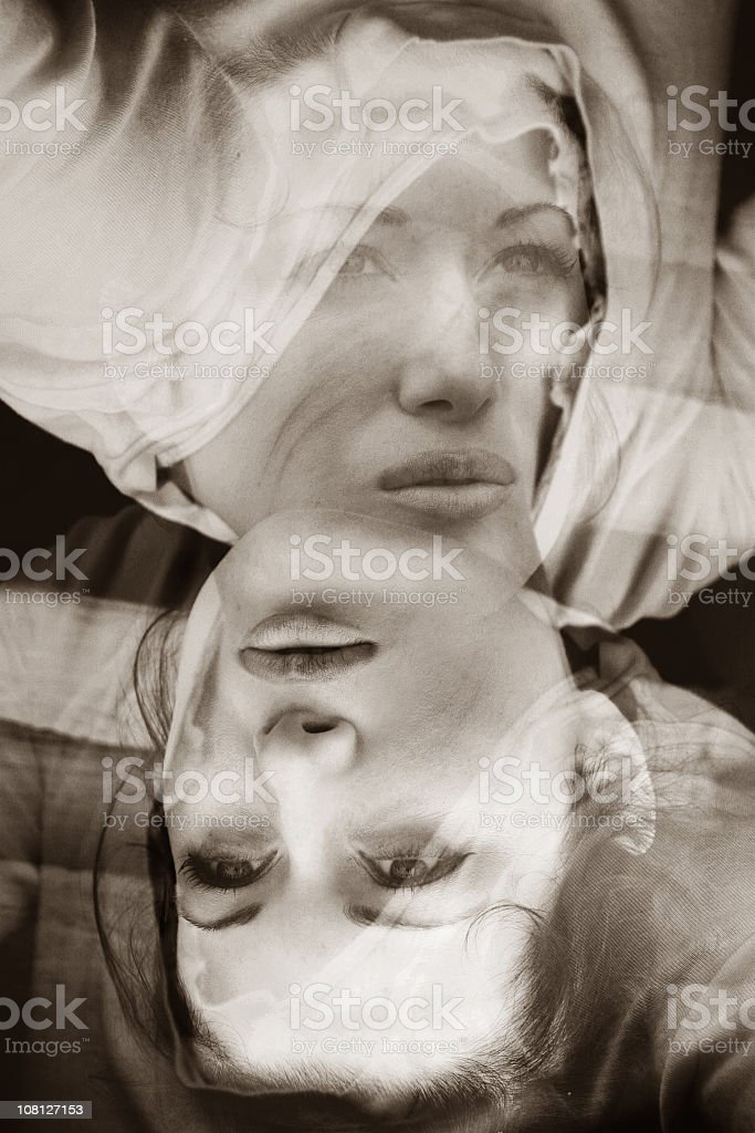 Portrait of Woman, Manipulated and Layered royalty-free stock photo