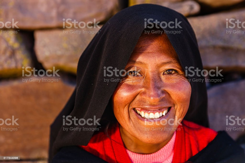 Portrait of woman on Taquile Island, Lake Titicaca, Peru stock photo
