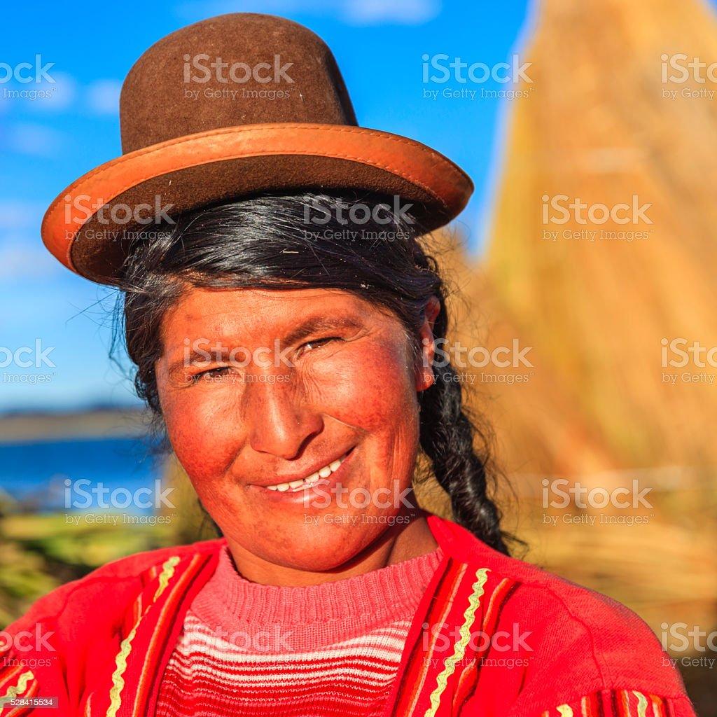 Portrait of woman on Uros floating island, Lake Tititcaca stock photo