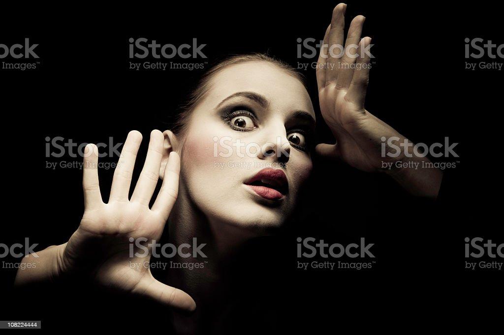 Portrait of Woman Posing, Low key stock photo